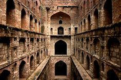 Agrasen ki Baoli, an ancient step well hidden amongst the tall buildings of Connaught Place, New Delhi, India.