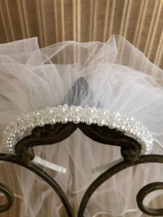 Excited to share the latest addition to my #etsy shop: Pearl and Crystal Headband, Communion Veil, white and Light Ivory Headband Veil, Crystal Headband, Pearl Headband, First Communion Veils, Communion Gifts, Catholic Veil, Bridal Veils And Headpieces, Thing 1, Clear Crystal