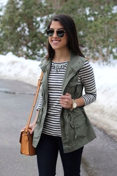 army green utility vest + striped top + necklace #utilityvest