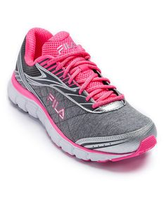 save off 2fa3e abf1f FILA Heather Gray   Hot Pink Memory Cloak 2 Running Shoe