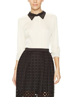 Halo Silk Cut-Out Collar Top by Catherine Malandrino at Gilt