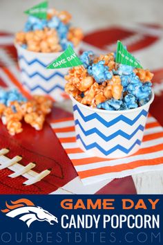 Game Day Colored Candy Popcorn {Denver Fans!}  Custom color to your fave team.  From Our Best Bites