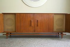 Mid Century Media Console - Vintage 1950s Stereo Cabinet/Credenza - Danish Modern Mad Men Eames Era Console