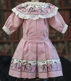 """Very Nice Antique French Original Pink Stripped Cotton Dress for Jumeau Bru Steiner Bebe doll about  21-22"""" (53-56 cm)"""
