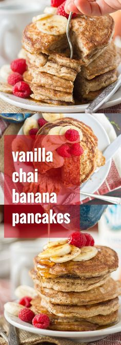 These fluffy vegan banana pancakes are infused with vanilla and toasty chai spices. Serve them up with some fresh fruit and a drizzle of maple syrup for a cozy vegan breakfast! #doplants #ad /lovemysilk/