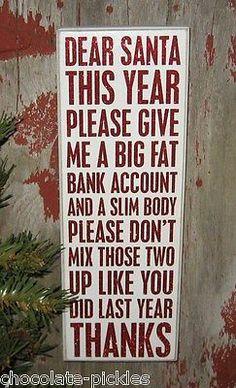 CHRISTMAS Wood Box Sign*Primitive Decor*Santa Humor*Best Friend Holiday Gift! Echt heeeeeeeel leuk