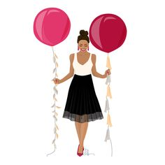 Illustration – Celebration Girl and Balloons – Personel Celebration Balloon Illustration, People Illustration, Illustration Girl, Graphic Design Illustration, Watercolor Illustration, Celebration Balloons, Celebration Background, Molduras Vintage, People Cutout