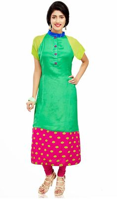 Lime green and pink chiffon kurti makes you appear quite stylish and graceful. This straight cut kurti is embellished with stand collar, raglan sleeves style and silk thread embroidered floral motifs on pink patch. #ClassicalTunic