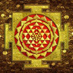 Sri Lakshmi Yantra Canvas Print / Canvas Art by Lila Shravani Canvas Art, Canvas Prints, Art Prints, Shri Yantra, Lakshmi Images, Tanjore Painting, Krishna Painting, Kali Goddess, God Pictures