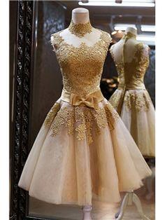 Vintage Lace Zipper-Up Short A-Line High-Neck Bowknot Cocktail Dress                USD $ 115.09 http://urlend.com/QfI3yar #lace dress #evening dress #ericdress