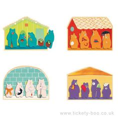 A colourful lotto game by Djeco. Simply put the bears face down then try to pick one that matches your house lotto board. Contains 4 house boards and 16 bears Design Charlotte Labaronne  Suitable From 2+ years Dimensions Box 21.8 x 18.8 x 4cm Brand Djeco Product Code DJ01647 Barcode 3070900016477