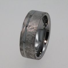 Meteorite Ring Tungsten Wedding Band inlaid with by jewelrybyjohan, $676.00