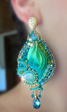 Earrings: Soutache, beadembroidery, Shibori silk Design by Serena Di Mercione (on FB: Serena Di Mercione Jewelry)