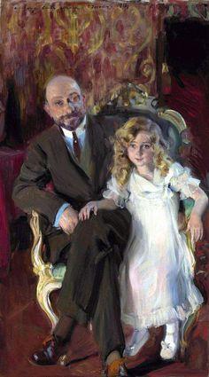Joaquin Sorolla - Retrato de Carlos Urcola Ibarra con su hija Eulalia