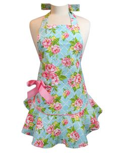 Josephine Turquoise Cottage Kitchen Rose Apron with Pink Bow
