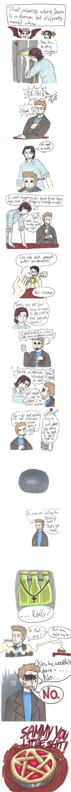 """That universe where Dean is a demon, but it's (pretty much) okay."" 