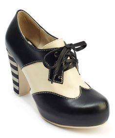 Black & Cream Angie P Leather Spectator Pump #zulily #zulilyfinds
