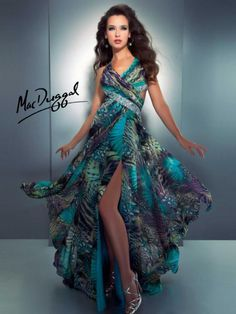 Peacock print prom dress from Cassandra Stone by Mac Duggal