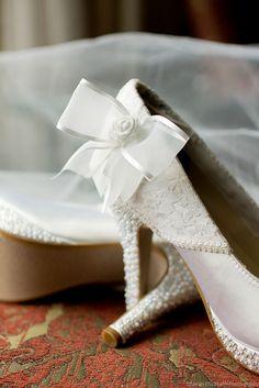 b8768900299 Custom Wedding Shoes -- White Platform Heels with Lace Overlay