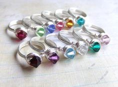 Girl's Birthstone Ring Swarovski Crystal.  Makes cute party favors! by deannewatsonjewelry,