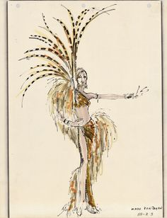 """A costume design drawing of a gold, two-piece showgirl costume for the show """"Hallelujah Hollywood"""" at the MGM Grand Hotel in Las Vegas, 1974.  Part of the UNLV Libraries """"Showgirls"""" digital collection.  #UNLV"""