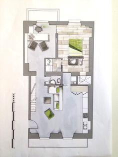 Planta de apartamento minimalista Alumno 1º EESS Diseño de Interiores de la EASD Lugo