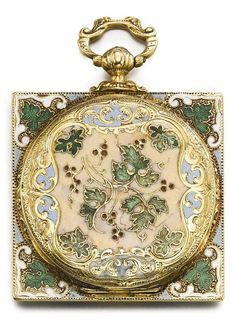 A YELLOW GOLD AND ENAMEL OPEN-FACED SQUARE WATCH, CIRCA 1850. • Jewelled gilt…