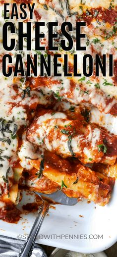 Homemade Cheese Cannelloni is always a family favorite! Cannelloni noodles are stuffed with a ricotta & spinach mixture and baked with mozzarella. This pasta recipe is an easy, filling, and delicious recipe! ~ Spend With Pennies Cannelloni Recipes, Best Pasta Recipes, Dinner Recipes, Cooking Recipes, Homemade Lasagna, Homemade Cheese, Italian Dishes, Gourmet, Pasta Recipes