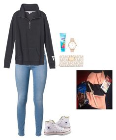 """what I got at the mall today !"" by jackelinhernandez ❤ liked on Polyvore featuring 7 For All Mankind, Victoria's Secret, MICHAEL Michael Kors, MANGO, Converse and Kate Spade"