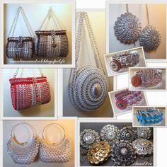 Can tab purse. Can Tab Crafts, Soda Can Crafts, Crafts To Make, Pop Tab Purse, Pop Bag, Pop Top Crochet, Crochet Tote, Pop Can Tabs, Crochet Rings