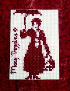 Mary Poppins Cross-stitch ATC