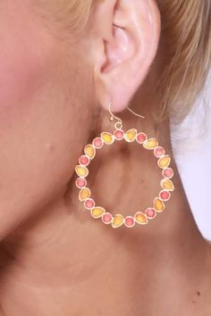 Gold Orange Faceted Gemstone Accent Round Hoops Earrings