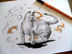 #stabilo #nankin #guache #cat #fish #draw #drawing #myart