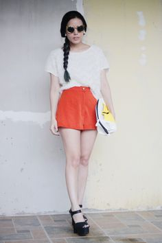 Fuzzy top + orange shorts Orange Shorts, Cheer Skirts, How To Wear, Tops, Style, Fashion, Swag, Moda, Orange Shorts Outfit