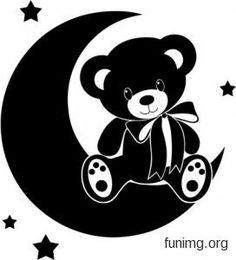 Эскиз изображения медвежонка на месяце для декора наклейкой или трафаретом