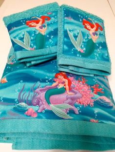 Little Mermaid Movie Themed Towel Set By MyTimeCreations