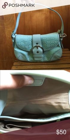 Light Blue Coach Purse This purse like perfectly brand new. Only used once or twice. Light blue in color. Perfect for Spring & Summer! Coach Bags Mini Bags