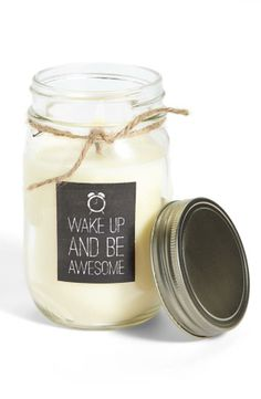 Wake up & be awesome. Mason Jar Candle.