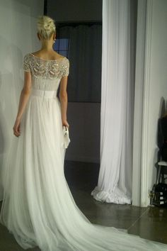 Stunning Marchesa wedding gown ... Beaded capsleeved chiffon silk wedding dress ... Rustic glamorous, country elegance, shabby chic, vintage, whimsical, boho, best day ever