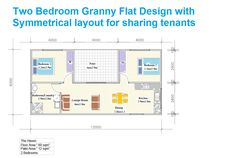 symmetrical two bedroom granny flat design in sydney