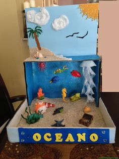 """Ocean diorama for school project Idea for Henry-- grade project. Remember to use those extra floral gems for the water. """"Ocean diorama for school pr Ocean Projects, Science Fair Projects, School Projects, Projects For Kids, Science Experiments, Science Diy, Science Ideas, School Ideas, Art Projects"""