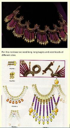 Fancy beaded necklace tutorial. Bugle beads and seed beads tutorial