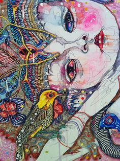 detail - come of things, Del Kathryn Barton Art Gallery NSW. Kunst Inspo, Art Inspo, Art And Illustration, Contemporary Abstract Art, Contemporary Artists, Modern Art, Australian Artists, Hanging Art, Art Auction