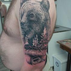 Bear tattoo, tattooer maiden-ink, Finland.
