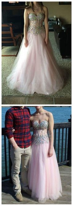 Pink Beaded Prom Dresses, Tulle Prom Dresses, Graduation Party Dresses – BBDressing