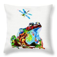 """Frog And Dragonfly Throw Pillow  Pillows are available in sizes from 14"""" x 14"""" up to 26"""" x 26"""".   Each pillow is printed on both sides (same image) and includes a concealed zipper and removable insert (if selected) for easy cleaning. http://fineartamerica.com/featured/frog-and-dragonfly-olga-hamilton.html"""
