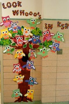 classroom decorating ideas | added my owls to the outside wall. My students from last year made ...