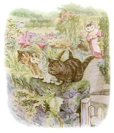 Then Tabitha Twitchit came down the garden and found her kittens on the wall with no clothes on.
