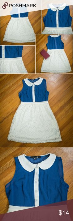"""Forever 21 blue sheer & white lace dress - Size: S Forever 21 blue sheer & white lace dress with white peter pan collar - Size: S. Bottom half is lined with Polyester lining. The dress has 5 buttons up the front with 2 darts in the blue sheer fabric and a side zipper on the left side. Bust: """"34""""   Shoulder: 12""""  Waist: 27""""  Waist to hemline: 17.5""""  Length: 30"""" Please let me know if you have any questions and feel free to bundle with another item too! Forever 21 Dresses Mini"""