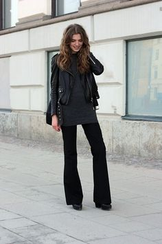 Acne Studios Leather Jacket, Whyred Knit, Filippa K Flare Slacks, Acne Studios Shoes